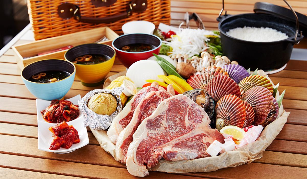 まるごとステーキと豪華海鮮を味わう最上級グランピングBBQプラン